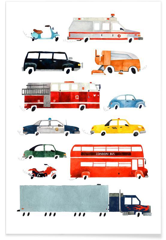 Børneværelse & kunst for børn, Cars and Lorries Plakat