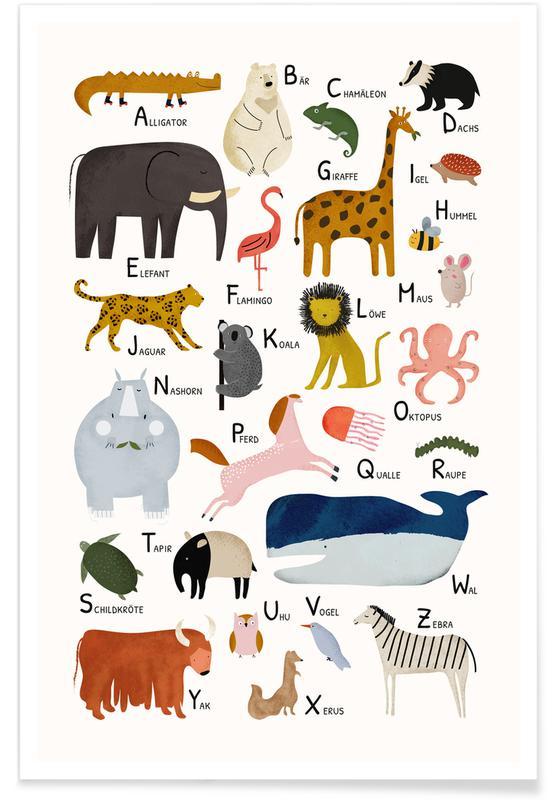 Alfabet og bogstaver, Børneværelse & kunst for børn, Tiere von A bis Z Plakat