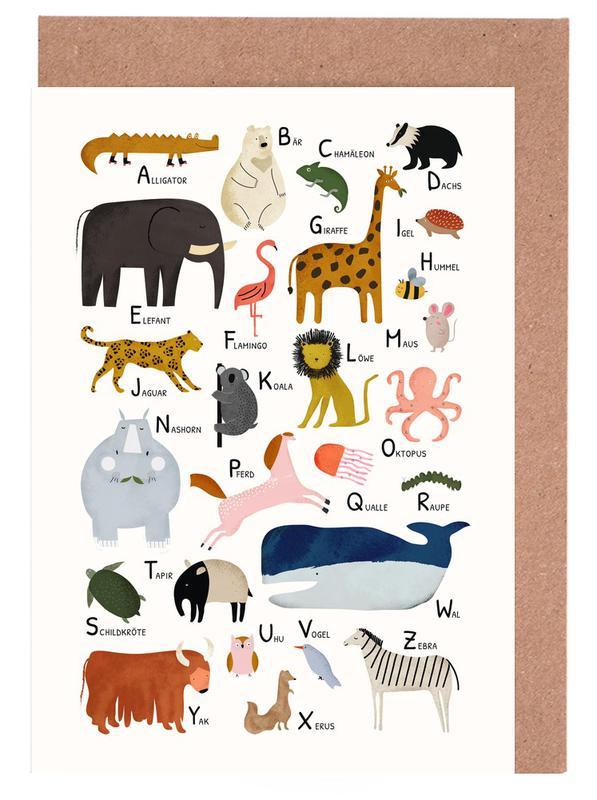 Alphabet & Buchstaben, Kinderzimmer & Kunst für Kinder, Tiere von A bis Z -Grußkarten-Set