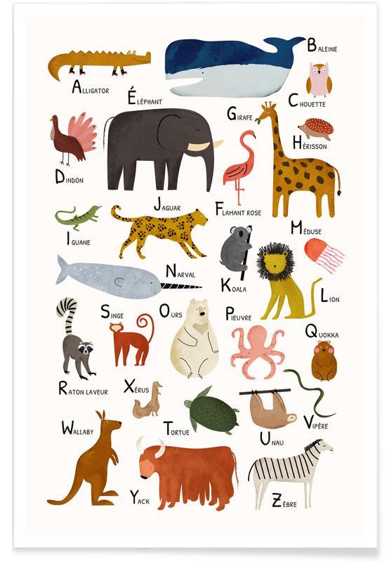 Alfabet en letters, Kunst voor kinderen, Abécédaire des animaux poster