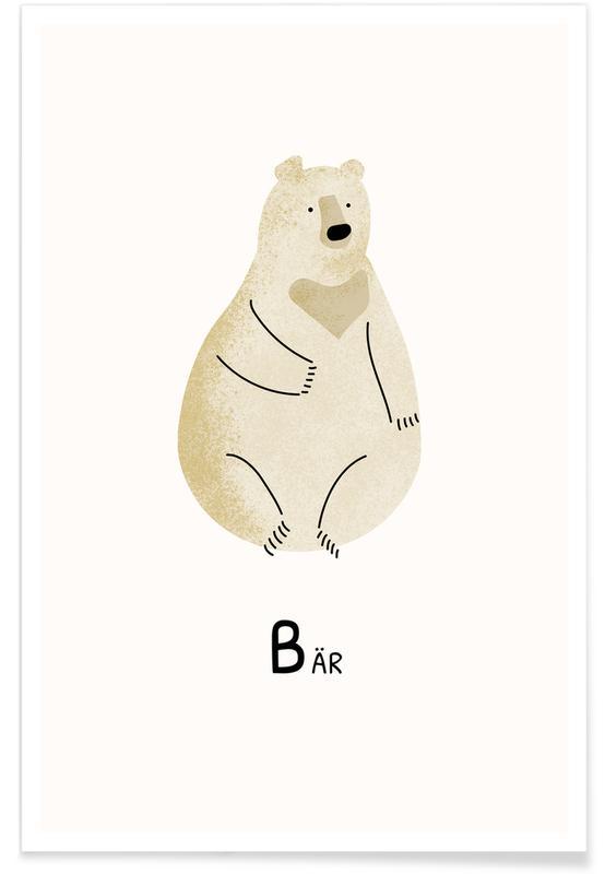 Alphabet & Buchstaben, Kinderzimmer & Kunst für Kinder, Bären, Bär -Poster