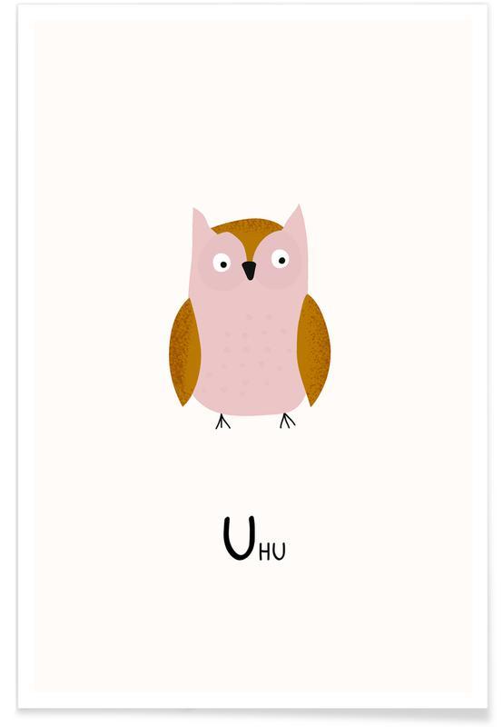 Kunst voor kinderen, Uilen, Alfabet en letters, Uhu poster