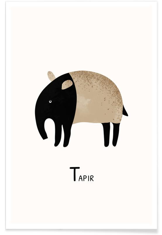 Art pour enfants, Alphabet et lettres, Tapir affiche