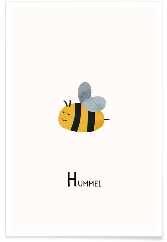 Art pour enfants, Alphabet et lettres, Abeilles, Hummel affiche