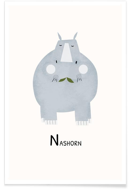 Art pour enfants, Alphabet et lettres, Rhinocéros, Nashorn affiche