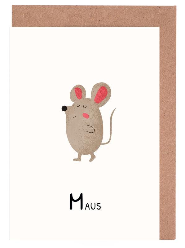 Alphabet & Buchstaben, Kinderzimmer & Kunst für Kinder, Maus -Grußkarten-Set