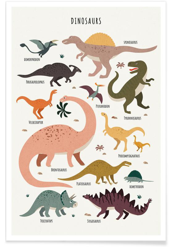 Art pour enfants, Dinosaures, Dinosaur Friends affiche