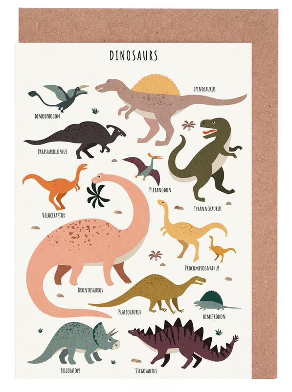 Kinderzimmer & Kunst für Kinder, Dinosaurier, Dinosaur Friends -Grußkarten-Set