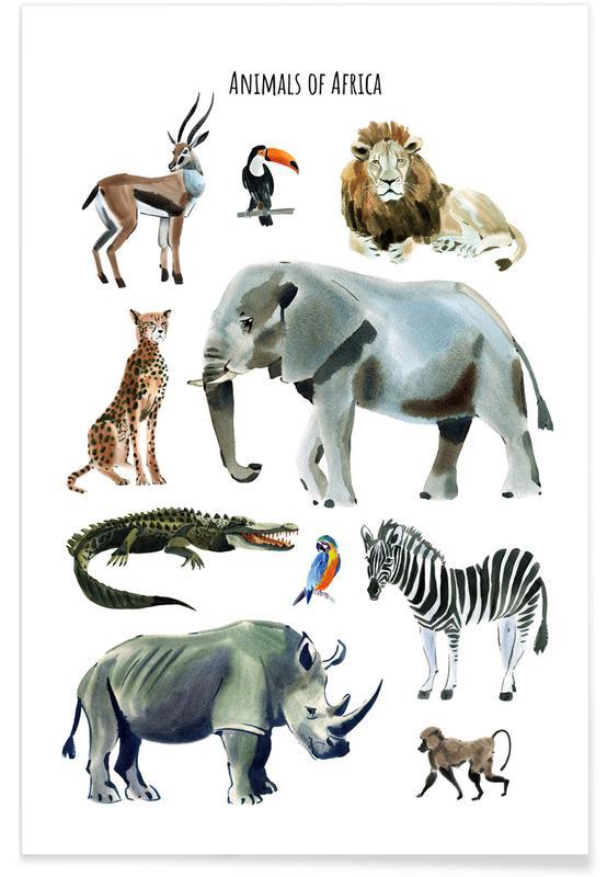 Kunst voor kinderen, Safari dieren, Animals of Africa poster