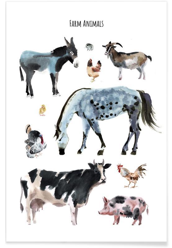 Børneværelse & kunst for børn, Farm Animals Plakat