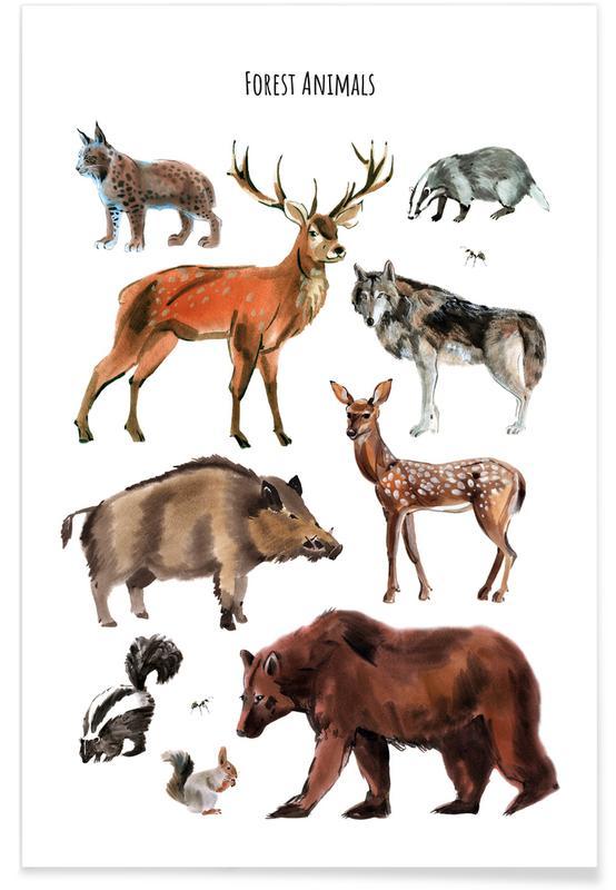 Børneværelse & kunst for børn, Forest Animals Plakat