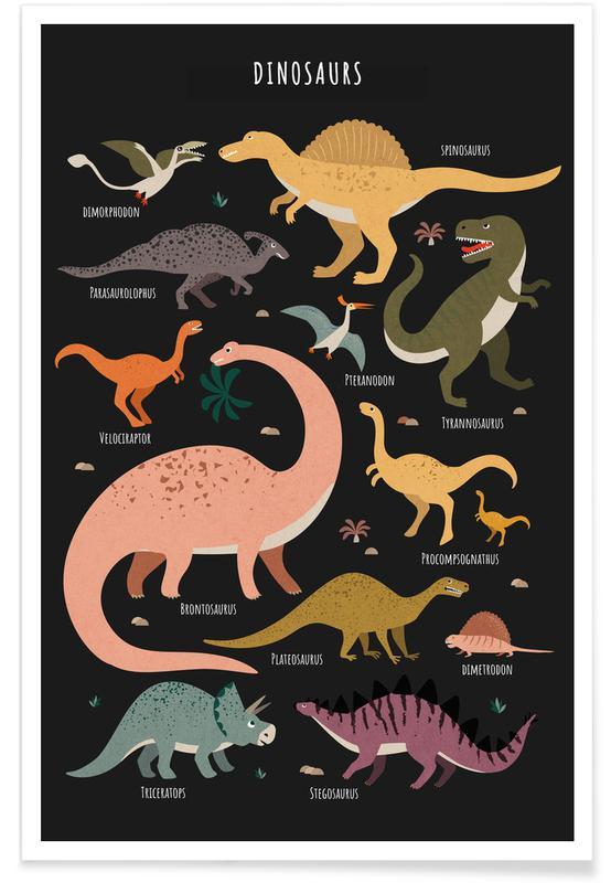 Kunst voor kinderen, Dinosaurussen, Dinosaur Friends II poster