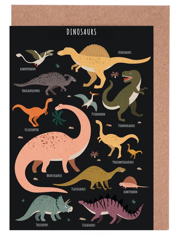 Kinderzimmer & Kunst für Kinder, Dinosaurier, Dinosaur Friends II -Grußkarten-Set