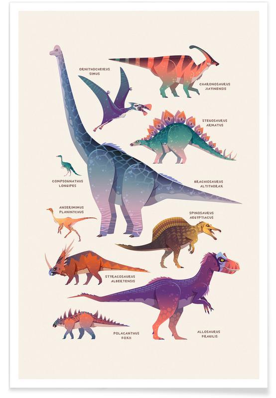 Børneværelse & kunst for børn, Dinosaurer, Dinosaur Names Plakat