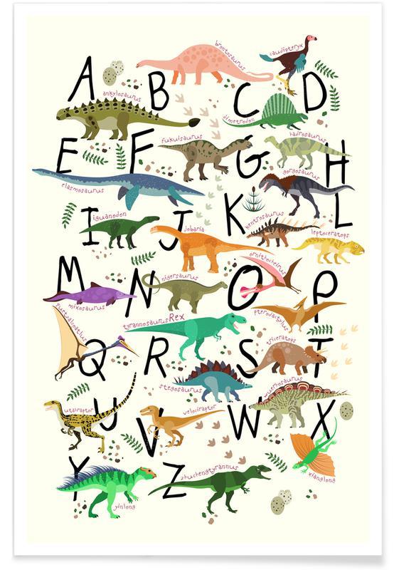 Børneværelse & kunst for børn, Dinosaurer, Dino Alphabet Plakat