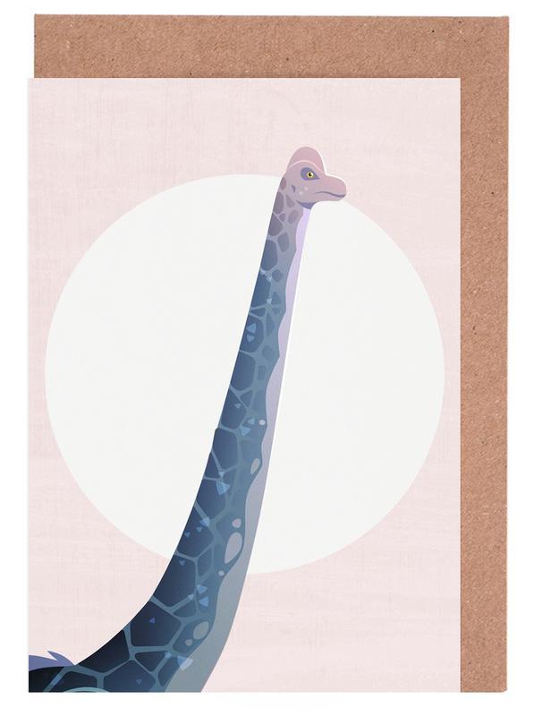 Kinderzimmer & Kunst für Kinder, Dinosaurier, Purple Giant -Grußkarten-Set
