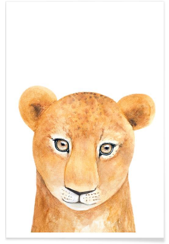 Animaux de safari, Art pour enfants, Lions, Simba The Lion affiche