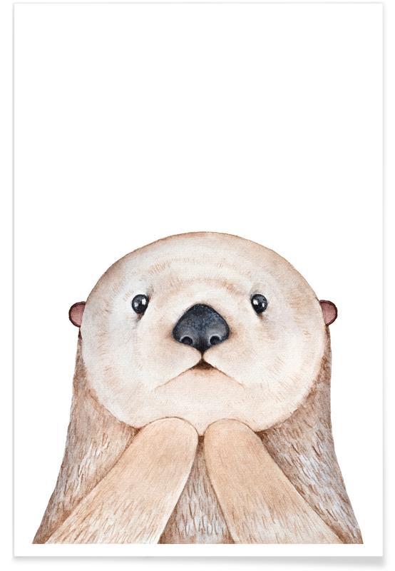 Art pour enfants, Otaries, Olle The Otter affiche
