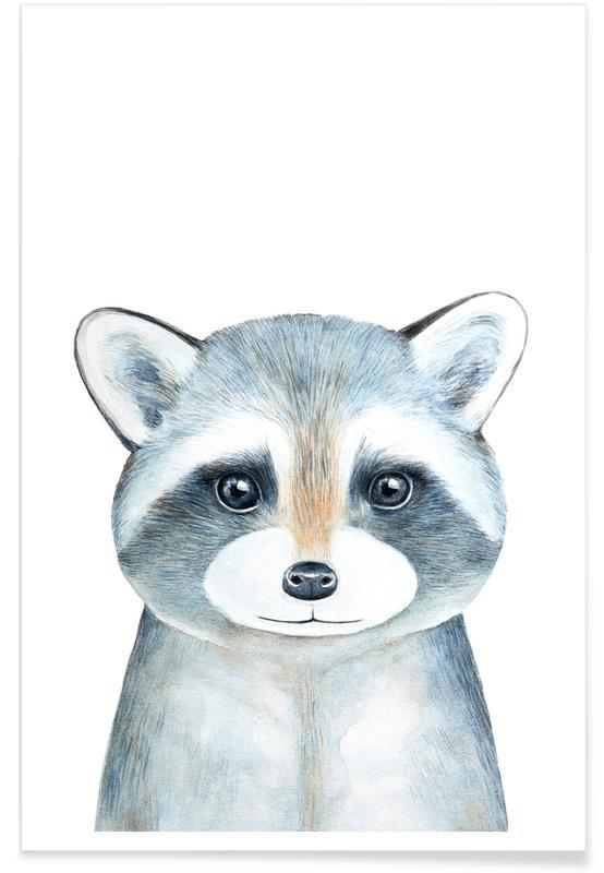 Art pour enfants, Ronnie The Racoon affiche