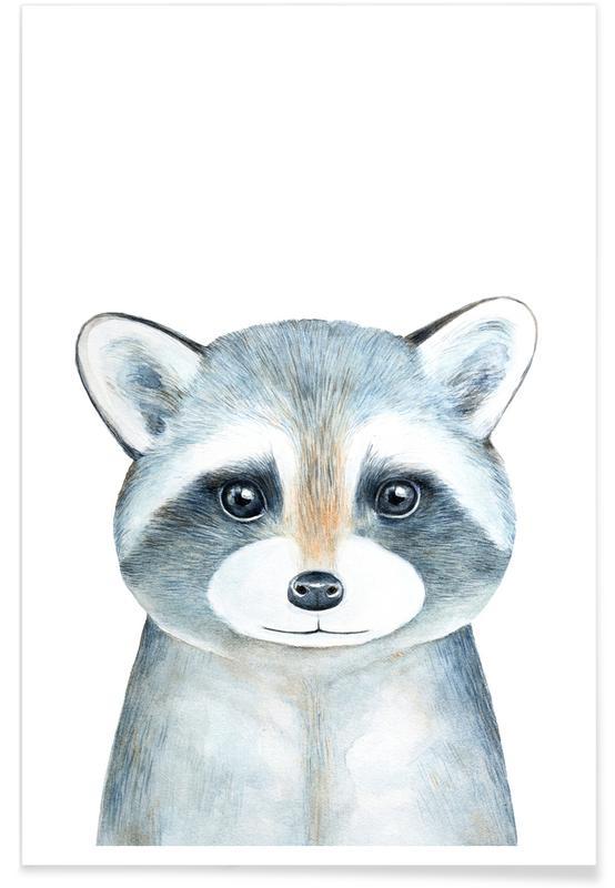 Kinderzimmer & Kunst für Kinder, Ronnie The Racoon -Poster
