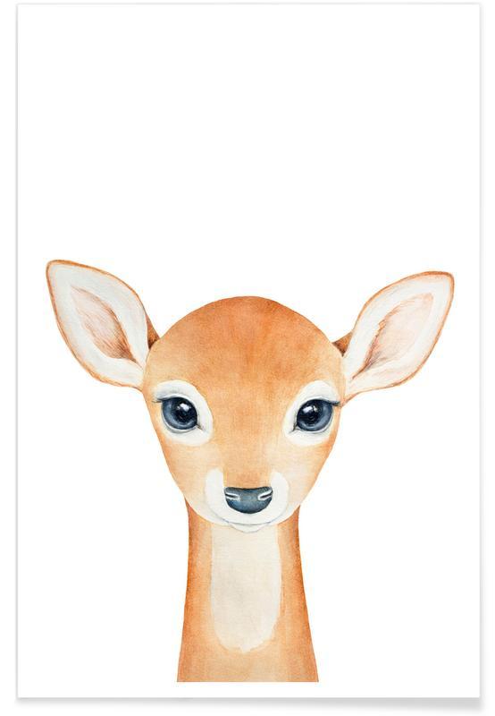 Cerfs, Art pour enfants, Grace The Gazel affiche
