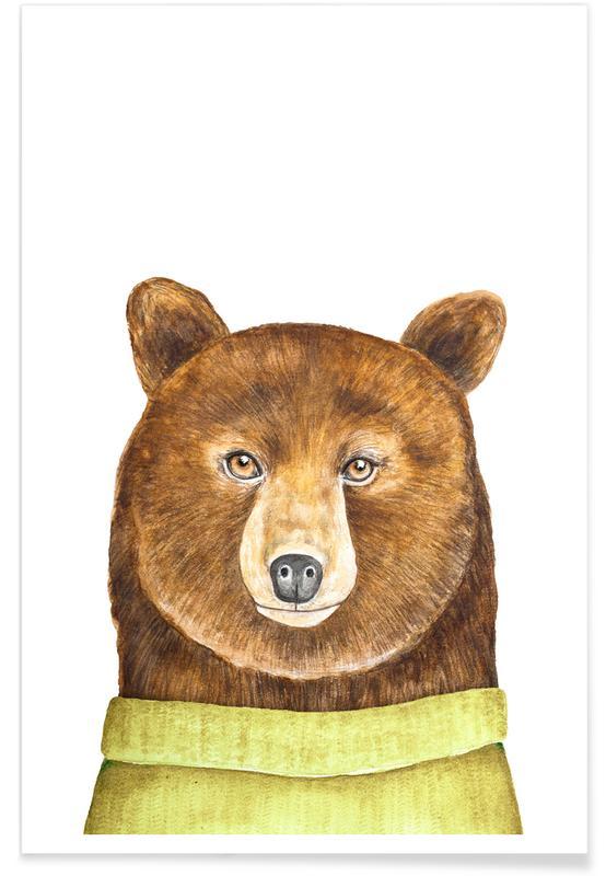 Kinderzimmer & Kunst für Kinder, Bären, Paul The Bear -Poster