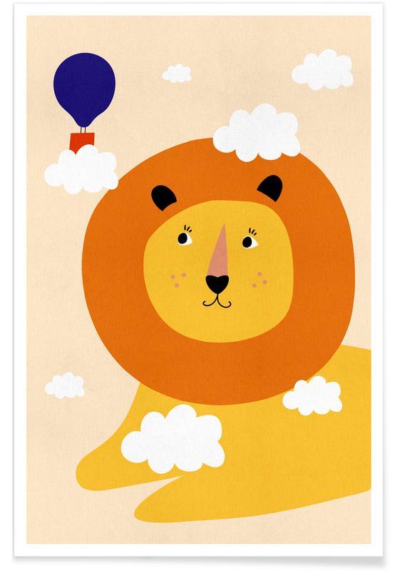 Arte para niños, Leones, Head in the Clouds póster