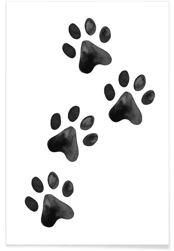 Art pour enfants, Ours, Chiens, Noir & blanc, Chats, Pawprints affiche