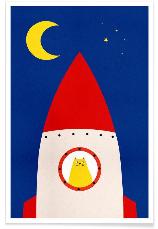 Børneværelse & kunst for børn, Katte, Rumskibe & raketter, Off to Space Plakat
