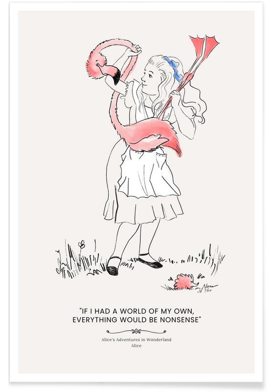 Art pour enfants, Alice And The Flamingo affiche