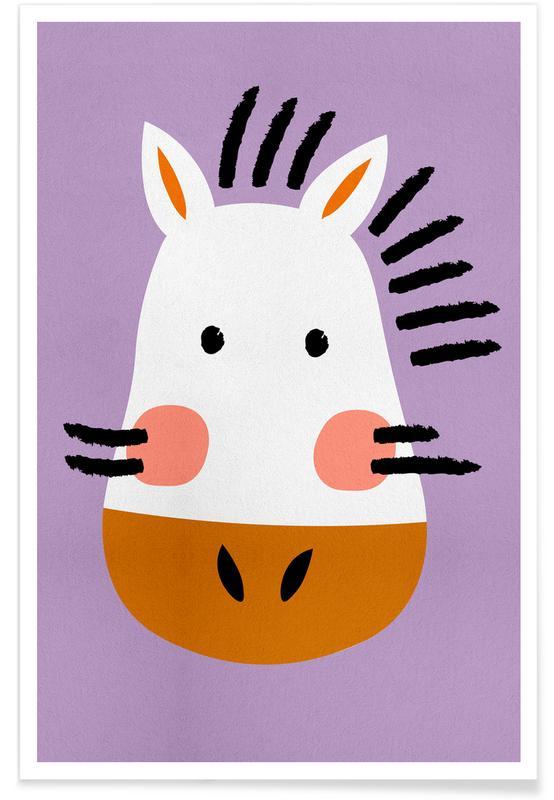 Zèbres, Art pour enfants, Ziggy the Zebra affiche
