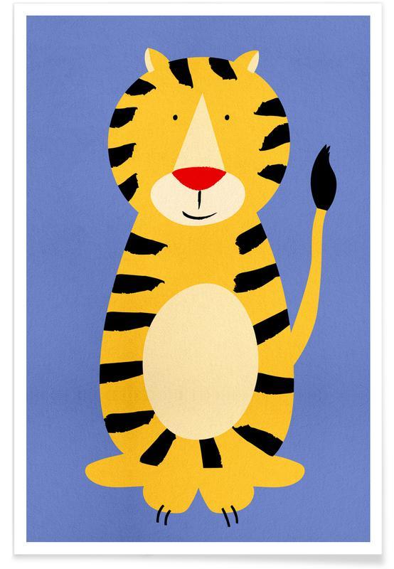 Børneværelse & kunst for børn, Tigre, Friendly Tiger Plakat
