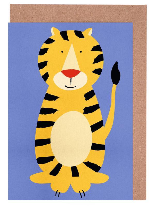 Kinderzimmer & Kunst für Kinder, Tiger, Friendly Tiger -Grußkarten-Set