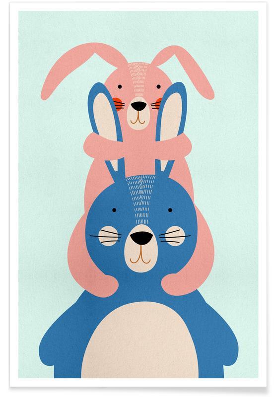 Lapins, Art pour enfants, Pâques, Bunny Rabbits affiche