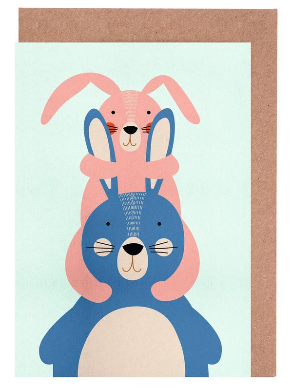 Art pour enfants, Pâques, Lapins, Bunny Rabbits cartes de vœux