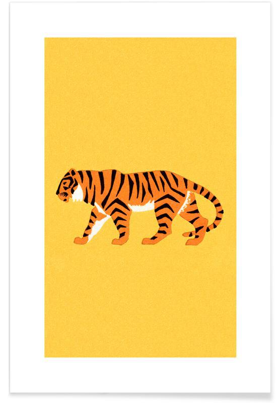 Børneværelse & kunst for børn, Tigre, Tiger Yellow Plakat