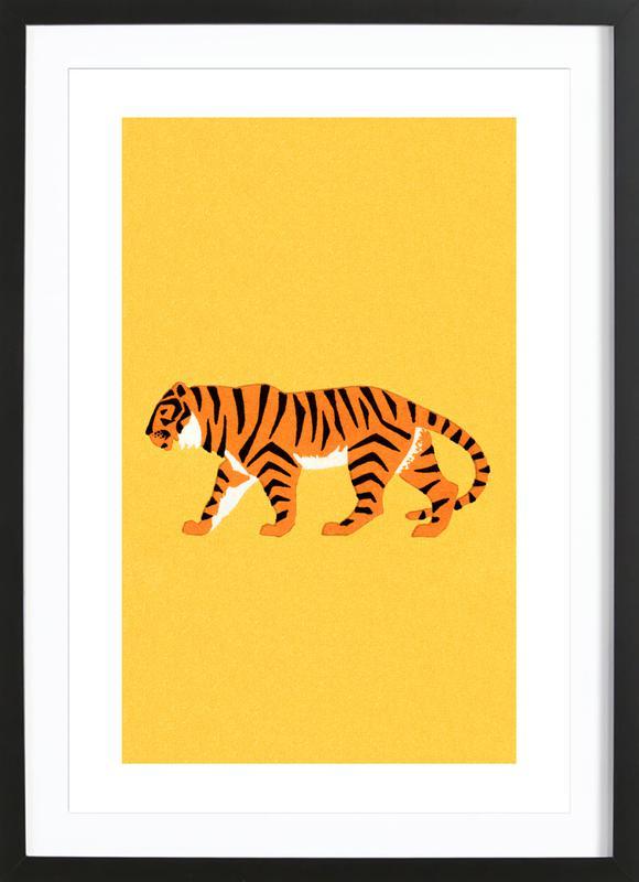 Tiger Yellow -Bild mit Holzrahmen