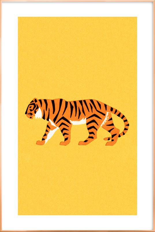 Tiger Yellow Poster in Aluminium Frame