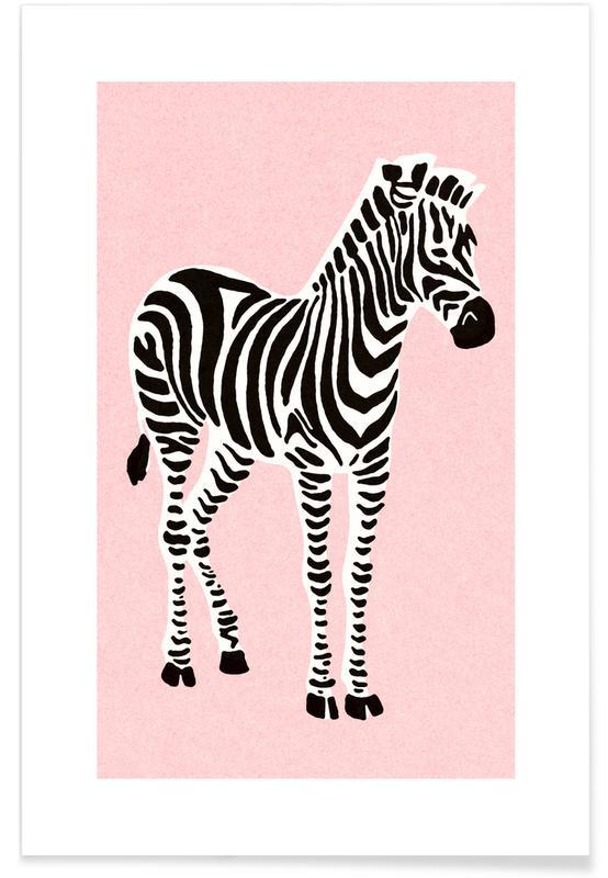 Zebraer, Børneværelse & kunst for børn, Zebra Pink Plakat