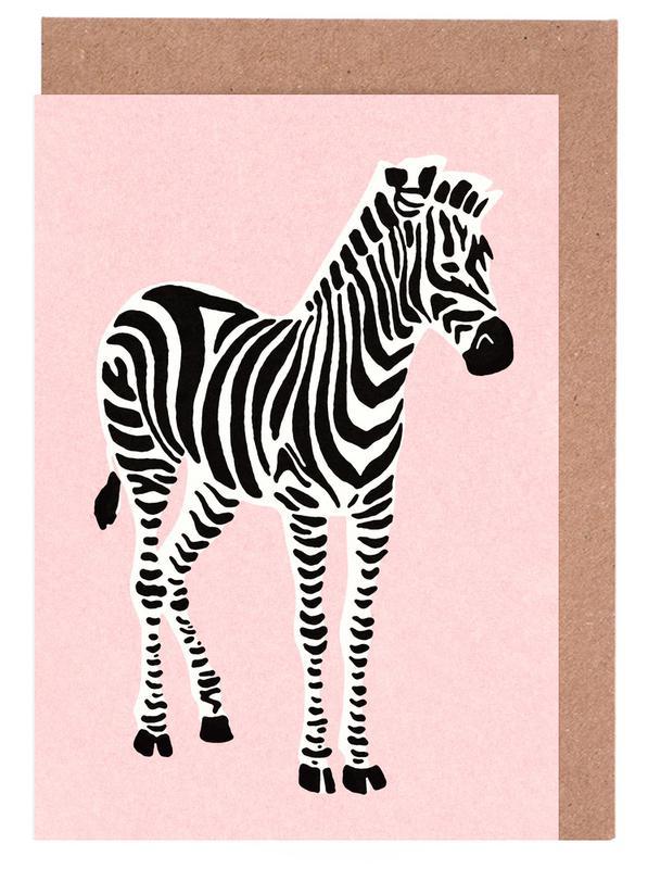Zebra Pink -Grußkarten-Set
