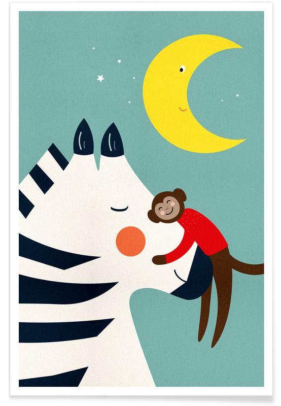 Zèbres, Art pour enfants, Singes, Goodnight Hug affiche
