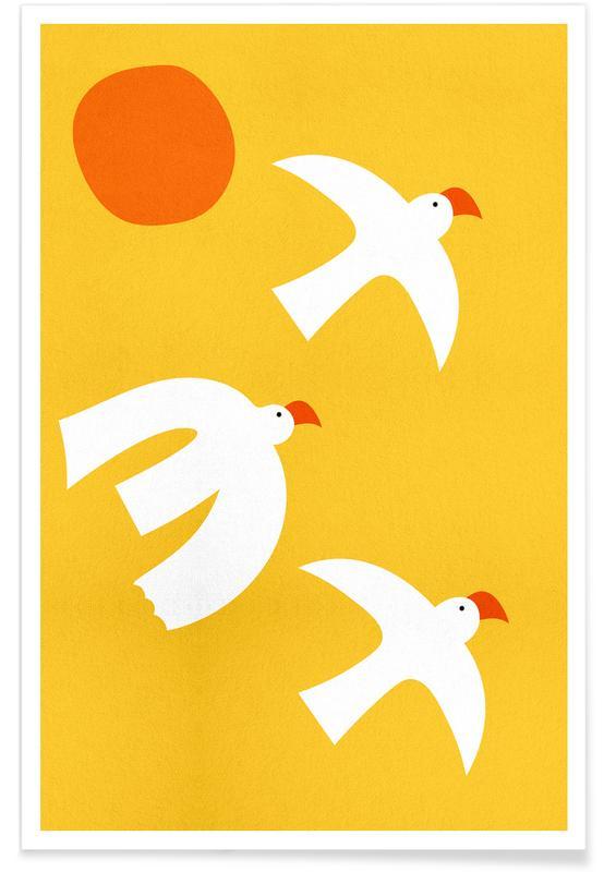 Art pour enfants, Colombes, Flying Doves affiche