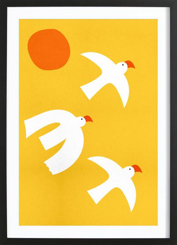 Flying Doves Poster i träram