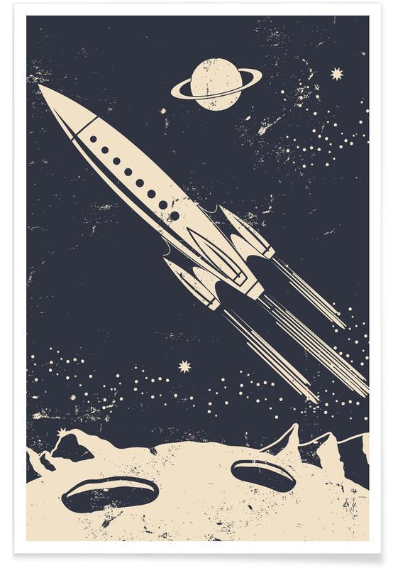Ruimteschepen en raketten, Kunst voor kinderen, Space Rocket II poster