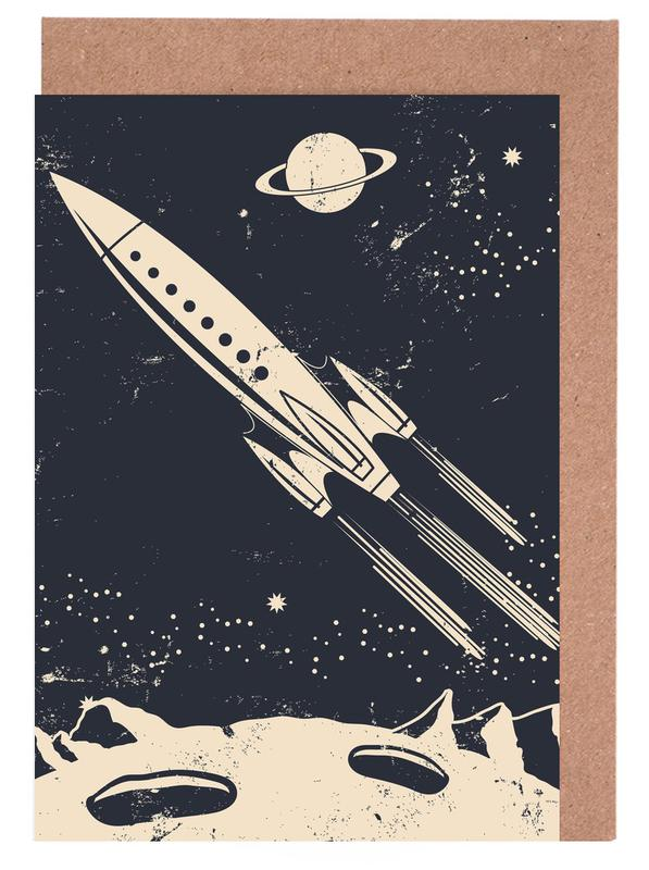 Raumschiffe & Raketen, Kinderzimmer & Kunst für Kinder, Space Rocket II -Grußkarten-Set