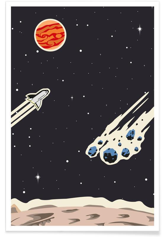Ruimteschepen en raketten, Kunst voor kinderen, Space Rocket poster