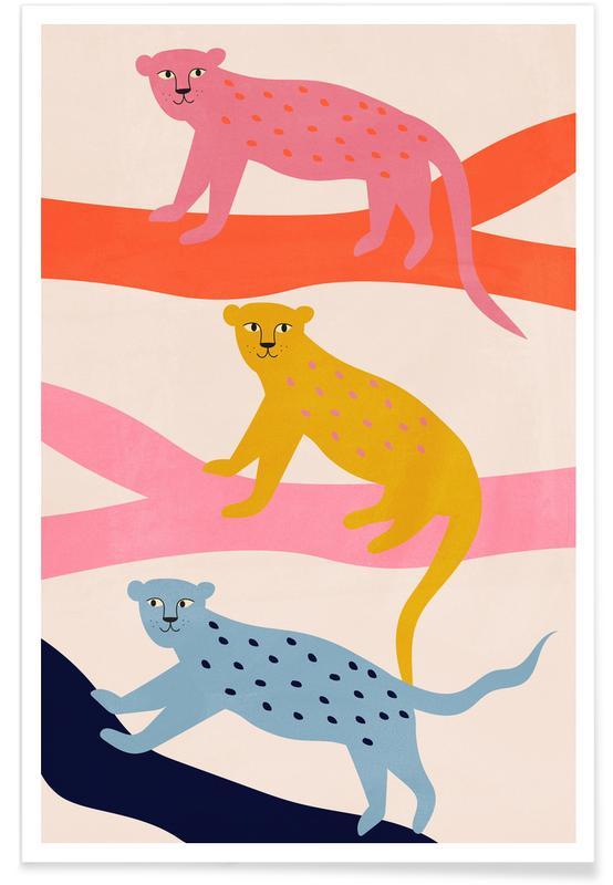 Léopards, Art pour enfants, Leopard Tree affiche