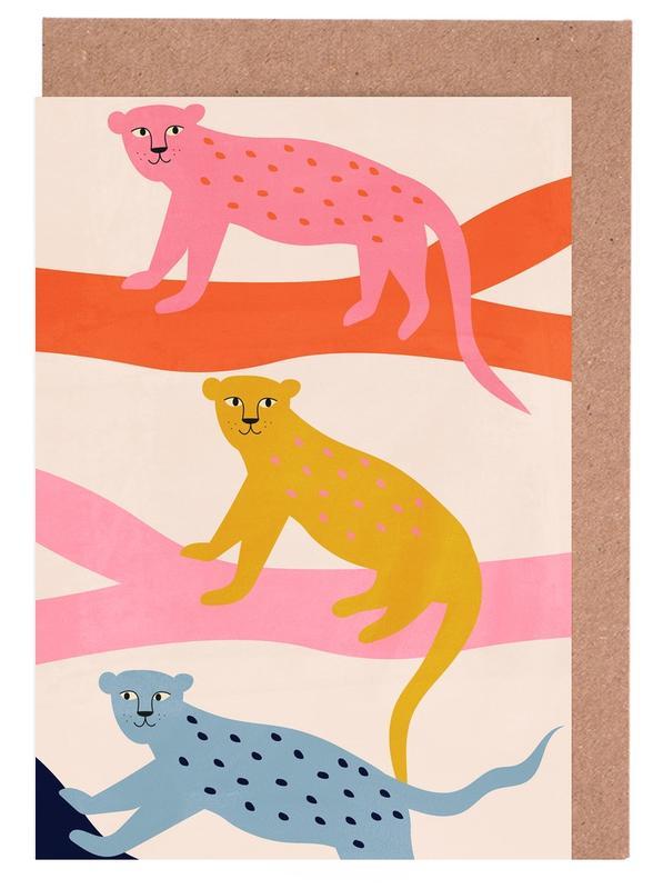 Leoparden, Kinderzimmer & Kunst für Kinder, Leopard Tree -Grußkarten-Set