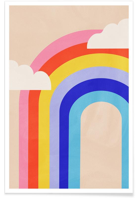 Børneværelse & kunst for børn, Rainbow and Clouds Plakat