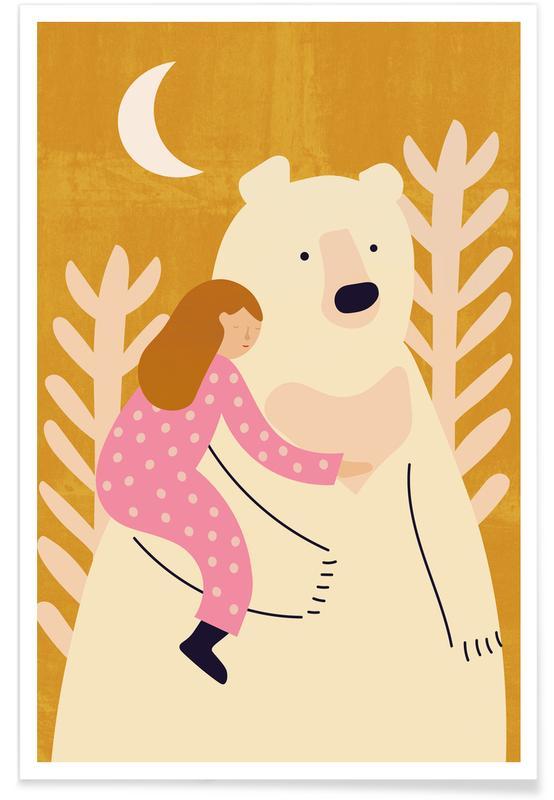 Bjørne, Børneværelse & kunst for børn, Bear Hug Plakat
